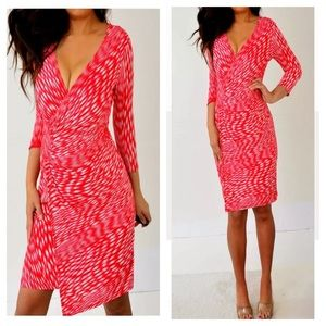 Laundry By Design Red 3/4 Sleeve Dress 4 S Small